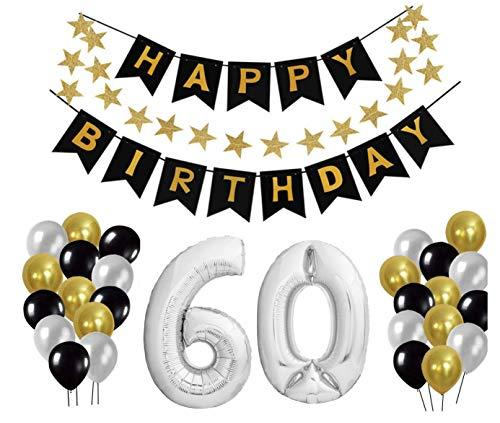 tion Set, Deko Geburtstag, Geburtstagsdeko, Happy Birthday Dekoration. Zahlen Luftballons Silber XXL + 24 Große Geperlte Ballons + 1 Happy Birthday Banner (60) ()