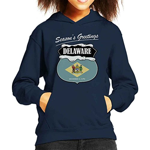 Seasons Greetings Delaware State Flag Christmas Kid's Hooded Sweatshirt (Delaware Klassischen Sweatshirt)