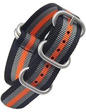 22mm schwarz / grau / orange deluxe premium NATO Stil robust exotisches Nylon Sport Herren-Armbanduhr-Bandbügel