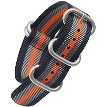 24mm negro naranja de lujo de nylon resistente NATO reemplazo / gris / militares pulseras para relojes estilo de bandas para los hombres