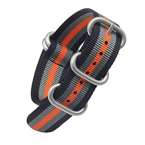24mm de style noir / gris / NATO d'orange de luxe militaire nylon durable bandes sangles de montres de remplacement pour les hommes