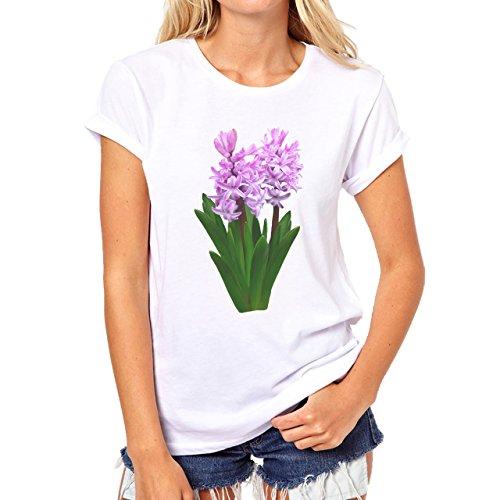 Flowers Nature Blossom Plant Green Purple Damen T-Shirt Weiß