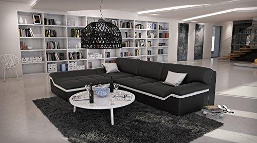 SAM Ecksofa Mistico schwarz mit weißem Streifen 220 x 270 cm Ottomane links designed by Ricardo Paolo exklusiv L - Form