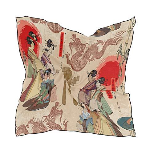 QMIN Seidenschal, quadratisch, japanische Geisha, chinesische Drache, modisches Kerchied, leicht, Haarband, ordentliche Halstuch, für Damen, 60 x 60 cm -