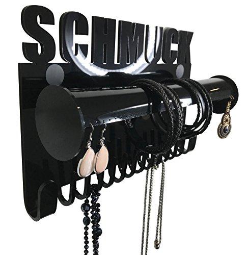 Schmuckaufbewahrung hängend wand ohrringe ketten Schmuckhalter Schmuckständer Galeara Design Armbandhalter (Schwarz)