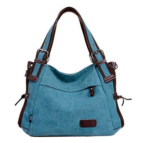 Zhhlaixing Borse di moda Classic Retro Canvas Large Package Characteristic Handbags Zipper Shoulder Bags for Women Blue