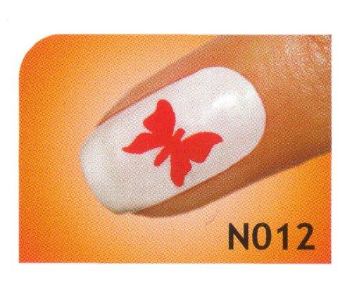 Nail Art Schablonen selbstklebend für Airbrush, Nagellack oder Stamping Lack - Motiv N012 / 1 Bogen mit 10 Sticker
