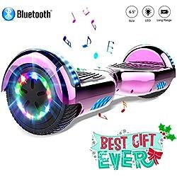 COLORWAY Hoverboard 6.5 Pulgadas con Ruedas de LED, Patinete Eléctrico con Bluetooth de 700W Auto-Equilibrio (Rose)