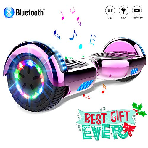COLORWAY Hoverboard 6.5 Pouces avec Roues Flash LED Multicolores, 700W Gyropode Bluetooth, Scooter Electrique Auto-équilibrage Anti-Incendie (Rose Rouge)