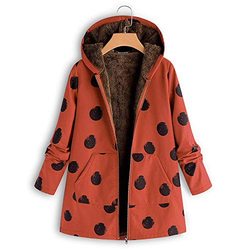 SANFASHION Damen Wollmantel Frauen mit Kapuze Langarm Vintage Drucken Fleece Verdicken Mäntel Button Langen Mantel Outwear Coat