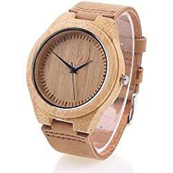 Wooden Bamboo Watch with Genuine Leather Strap Quartz Analog Wrist Watch - Brown