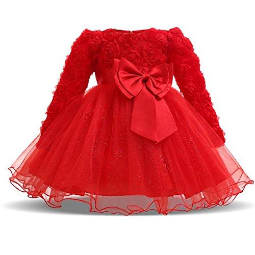 NNJXD Mädchen mit langen Ärmeln Spitze 3D Blume Tutu Urlaub Prinzessin Kleider Größe(90) 13-24 Monate Rot