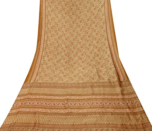 Indian Vintage Women Saree Blatt druckte 100% Seide Beige Sari Craft Stoff 5 Yds