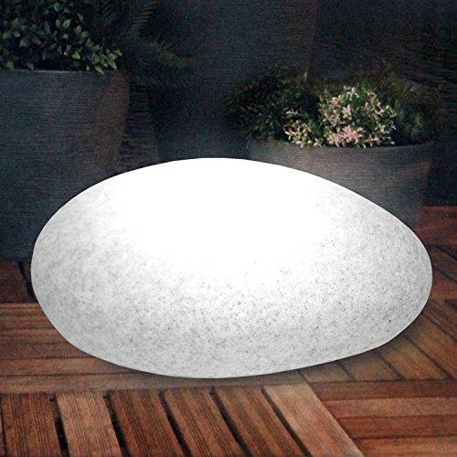 Multistore 2002 Stein Optik Gartenleuchte Kugelleuchte inkl. Erdspieß, 30x40xH17cm oval 18 weiße LEDs LED Beleuchtung für Innen/Außen, Lichtobjekt Stimmungslicht