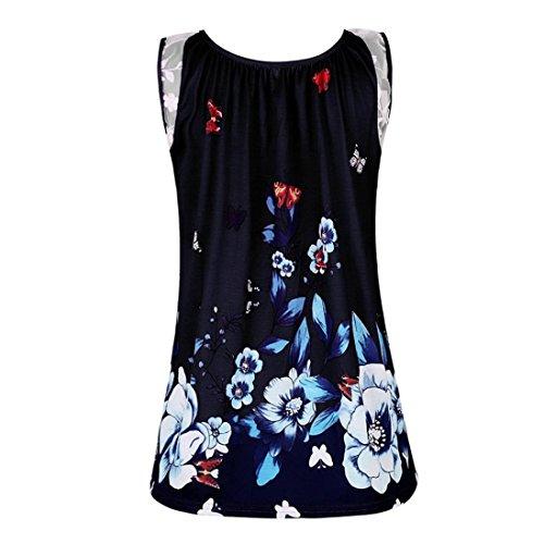 IMJONO Damen Frauen ärmellosen Schmetterling mit Flora Print Weste Bluse Casual Tank Top T-Shirt