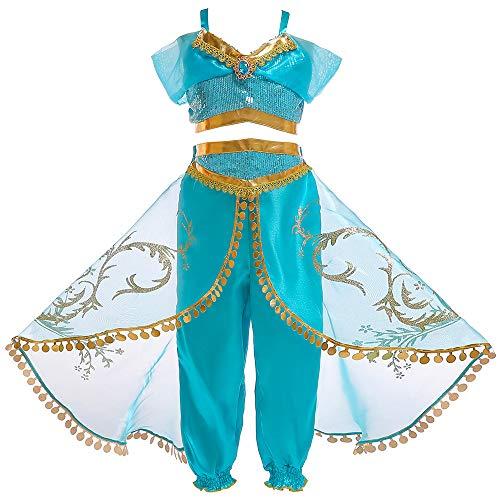 Tanz Kostüm Charakter - HHFF Weihnachten Kinder Kleid Aladdin Lampe, cos Prinzessin Jasmine Rock Charakter Leistung-Kleidung-Zweiteiler