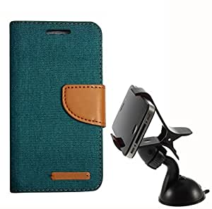 Aart Fancy Wallet Dairy Jeans Flip Case Cover for Redmi2S (Black) + Mobile Holder Mount Bracket Holder Stand 360 Degree Rotating (Black) by Aart Store