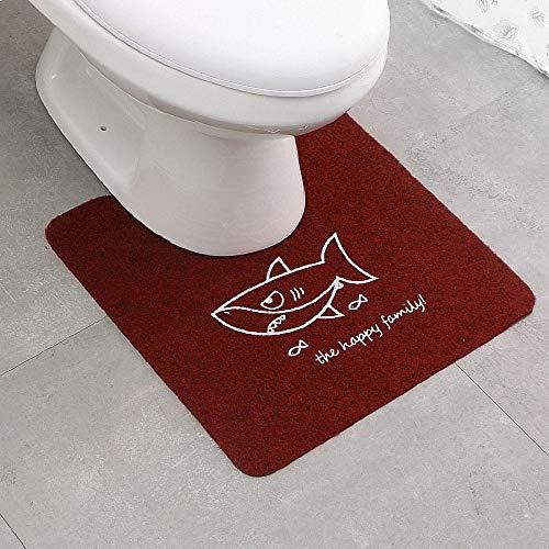 FeiXing158 Heimtoiletten-Fußmatten Badtoilette U-förmige Fußmatten Rutschfester, saugfähiger Polyesterdruck