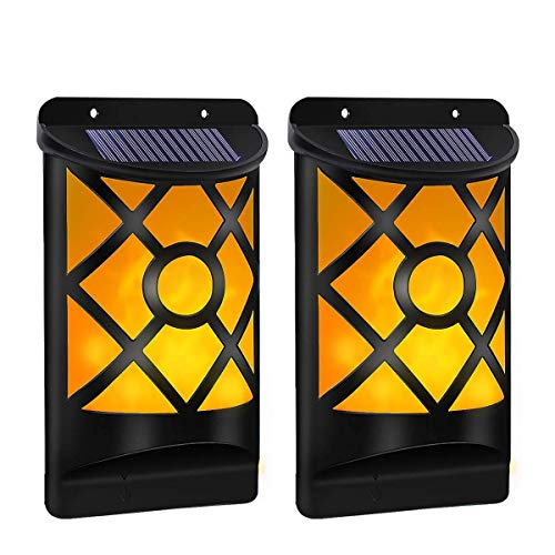B-right LED Solarleuchte für Außen, 2er Pack Solar Wandleuchte mit Flackernd Tanzen Flamme, Solarlampen für Außen mit IP65 Wasserdicht, Ideal für Flur, Wand, Garten, Hof, Party, Fest, Weihnachten
