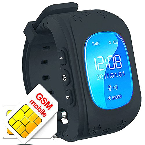 Los niños reloj inteligente GPS Rastreador niños reloj de pulsera teléfono SIM anti-lost SOS pulsera Parent control por iPhone iOS y Android Smartphone Q50 Color Negro