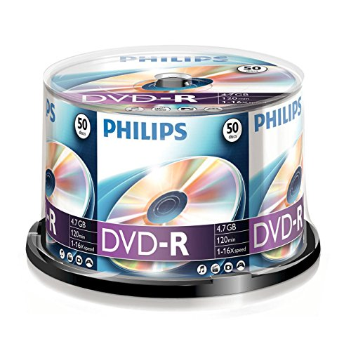 Philips DVD-R Rohlinge (4.7 GB Data/ 120 Minuten Video, 16x High Speed Aufnahme, 50er Spindel)
