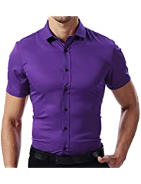 INFLATION Men's Short Sleeve Shirt Slim Fit Stretch Bamboo Formal Dress Shirt Casual Button Down Shirts for Work/Home, 9 Colors