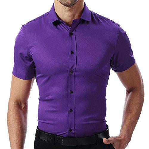 INFLATION Herren Hemd aus Bambusfaser umweltfreudlich Elastisch Slim Fit für Freizeit Business Hochzeit Reine Farbe Hemd Kurzarm Herren-Hemd Blaugrün DE M (Etikette 41)