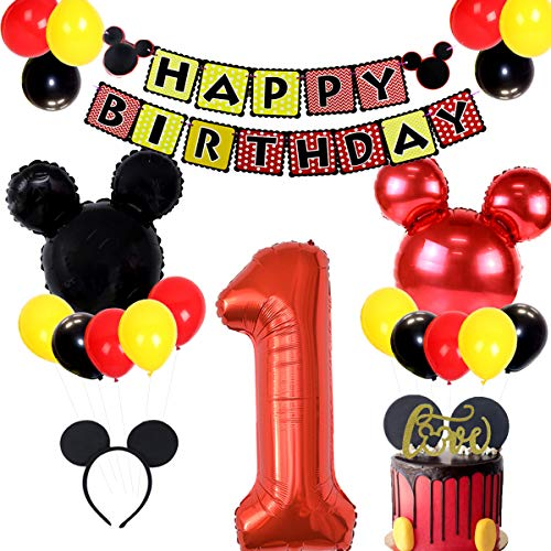 JOYMEMO Mickey Mouse 1st Birthday Party Supplies gehören Konfetti, Banner, Folienballons und Ohr-Stirnbänder