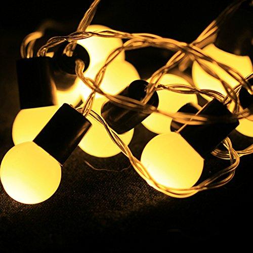 10er LED-Solar Globe Garten Lichterkette Außen Warmweiß 2,5 Meter Weihnachtsbeleuchtung im Freien Beleuchtung für Haushalt, Garten, Hochzeit