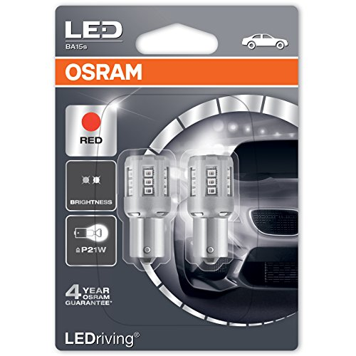Osram LED Standard Retrofit P21 W 7456r Rosso 12 V e frecce Luce per retromarcia Confezione Doppia
