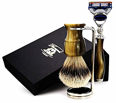 Pure Sliver Tip Hair Shaving Brush, Gillette Fusion Razor In Black & Brass Colour Mixed Handle & Stainless Steel Brush Stand. Suits All Type Of Men's Skin And Gives Smooth Finishing.