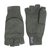 Fingerless Shooting Mitts Olive Green - Thinsulate Lining Hunting Glove