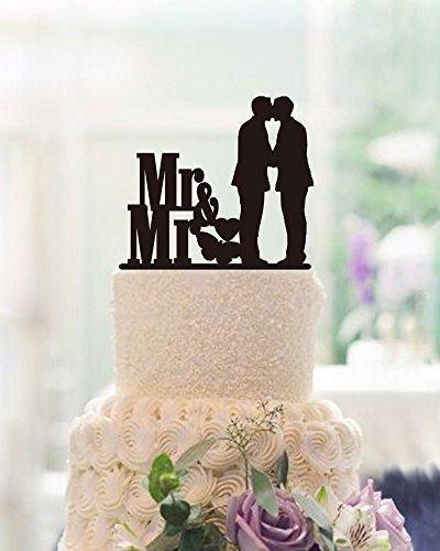 Mr und Mr Gay Wedding Cake Toppers 2Grooms Hochzeit Tortenaufsatz, für Hochzeiten (Cake Gay Topper Wedding)