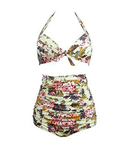 War Room Vintage Geraffte 50er Jahre Damen Hoch taillierte Badeanzug - Solide Geraffte Halter Bow Bikini Zwei Stück - Retro Wellen Punkte der Frauen Konservative Split Bademode (XXXL, Beige)