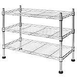 casa pura® Kitchen Shelf | 3 Adjustable Tiers | Stainless Steel | Great Space Saving Idea | Perfect for Under Sink Storage, Countertops, Bathroom etc | 45 x 45 x 20cm