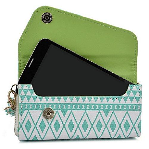 Kroo Pochette/Tribal Urban Style Étui pour téléphone portable compatible avec Nokia Lumia 635 bleu marine White with Mint Blue