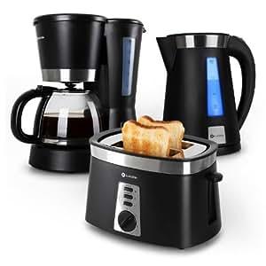 Klarstein Sunday Morning - Set petit-déjeuner complet avec cafetière, bouilloire et grille pain (machine à café 1,5L, toaster 920W, bouilloire 1,7L 2200W) - noir