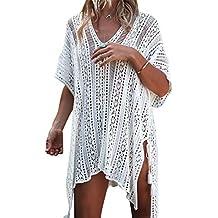 Paréo Femme Plage Mini Robes Grande Taille Tunique Pull Col V Kimono Bohême  Mode Bikini Cover 7b5e023c0e27