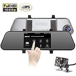 """SENDOW HD Espejo Dash Cámara De Coche 1920x1080P Delantera y Trasero Dash Table IPS De 5"""" Pantalla Táctil Con Ultra Claro 150 ° Gran visión, G-Sensor , Visión Nocturna, Grabación En Bucle, Monitor De Estacionamiento"""