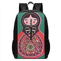 Deglogse School Backpack, Schoolbag Travel Bookbag, Russian Matryoshka Doll Laptop Backpack, 17-inch Laptop Backpack for High Or College Schoolbag Book Bag for Men Women Black