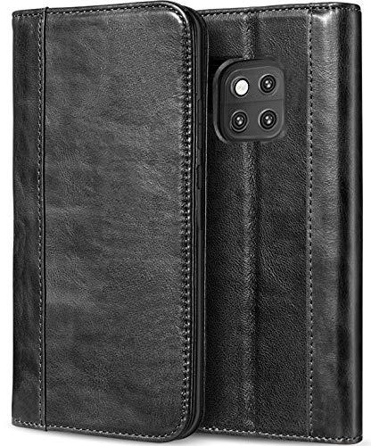 Huawei Mate 20 Pro Echtes Leder Hülle, ProCase Vintage Geldbörse Falten Flip Case mit Ständer Karten Einstecker Halter Magnetverschluss Schutzhülle für Huawei Mate 20 Pro (2018 Freigeben) -Schwarz -