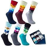 Vkele 6 Paar Fein Karierte Gemusterte Socken, Bunt Socken, Ideal als Weihnachtsgeschenke, Baumwolle, Gradient, Gr. 43-46 43 44 45 46
