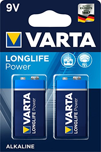 VARTA Longlife Power 9V Block 6LP3146 Batterie, Alkaline E-Block Batterien ideal für Feuermelder Rauchmelder Stimmgerät, 2er Pack 9v-batterie-pack