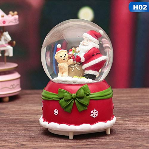 zyfun Spieluhr Musik-Box Christmas Crystal Ball Floating Snow Lights Christmas Birthday Gift Snowman Santa Claus Ornament Party Decoration2 -