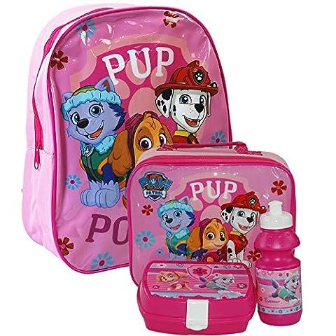 Nickelodeon® Paw Patrol Official Kids Children School Travel Rucksack Backpack Bag, Lunchbag Lunch Bag Case with Sandwich Box and Drinking Bottle Set for Kids Children