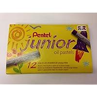 Pentel Kids Child Junior Oil Pastels Set 12 Arts Crafts Vivid Colours Fade Proof