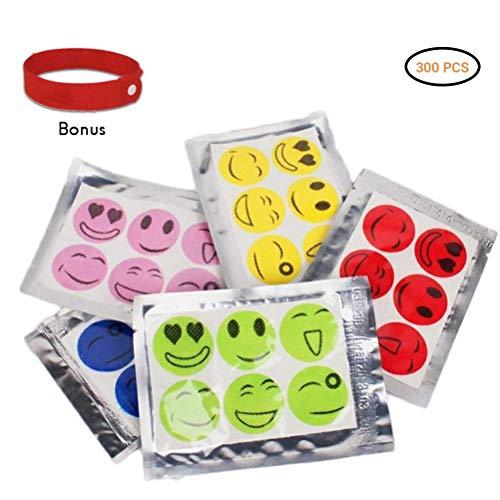 Daxoon 50 Beutel 300pcs Smiley Mückenschutz Aufkleber Insektenabwehr Aufkleber für Kinder Erwachsene (Einfach Patch)