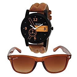 Relish Analog Synthetic Leather Strap Watch with Aviator Sunglass (Gifts for Boys) RE-542SUN