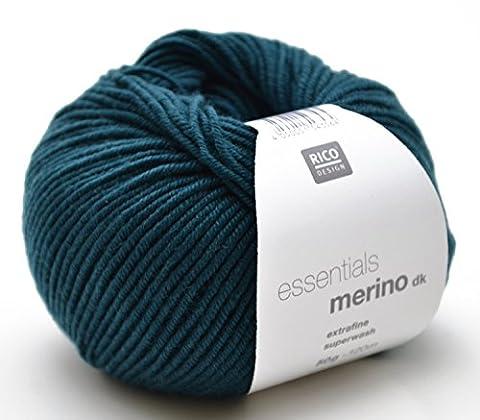 Laine Mérinos Rico dk FB. 31Bleu pétrole, laine mérinos à tricoter & Crochet