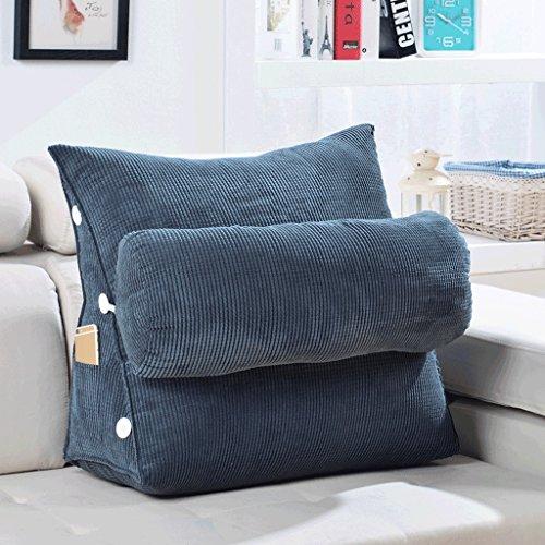 MMM- Canapé Coussin Oreiller Triangle Chevet Bureau Taille Dossier Lit Cou Protection Oreillers ( Couleur : Gris foncé , taille : 60 cm )